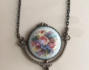 Vintage Russian Enamel Necklace Finift