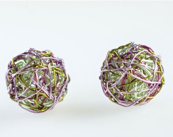 Ball earrings drop, short dangle, lime green, wire, miniimalist, lightweight, geometric earrings, hippie jewelry, Summer gift for women