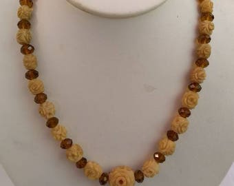 Vintage deeply carved bone flower beads and amber glass necklace