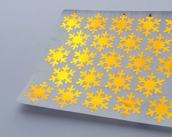 46 Metallic Gold Snowflakes Stickers, Snowflakes Planner Stickers, Envelope Seal, Party Stickers, Wedding Stickers, Birthday Stickers,Xmas
