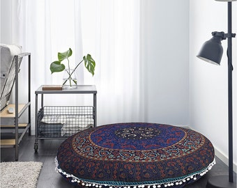 Indian Mandala Floor Cushion Pouffe Pet Bed Ottoman Pouf Cover Floor Bed Round 32inch Bohemian Tapestry Cushion Cover Elephant Yoga mat blue