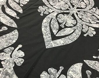 Grey & Black Hawaiian Design Wall Quilt - QUILT TOP, Masculine Must See Design