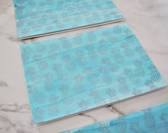 Hand-painted Silver Pineapple Cards
