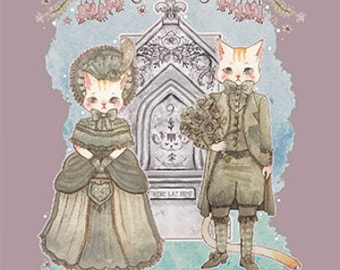Victorian Mourning Kitties Postcard Print
