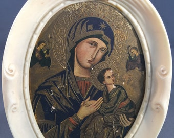 Vintage Russian Icon Framed Picture Of Madonna And Child