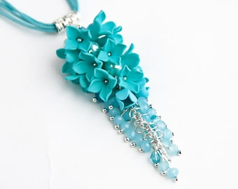 Turquoise Pendant Flower necklace Polymer clay jewelry Polymer clay flower pendant Floral necklace Flower pendant Jewelry for women