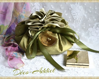 Lovely pouch khaki silk, satin ribbon and organza flower with khaki matching