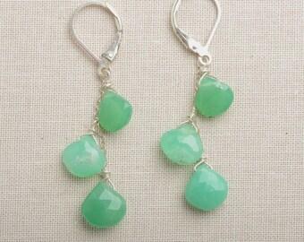 Green Gemstone Earrings, Chrysoprase Earrings, May Birthstone, Summer Earrings, Gemstone Dangle Earrings