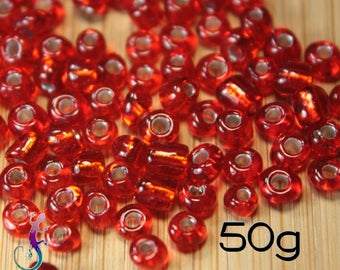 50g 4mm red glass seed beads