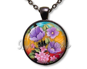 Springtime Splash of Flowers Glass Dome Pendant or with Chain Link Necklace NT163