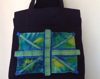 Black cotton tote bag decorated with hand dyed fabric Union Jack