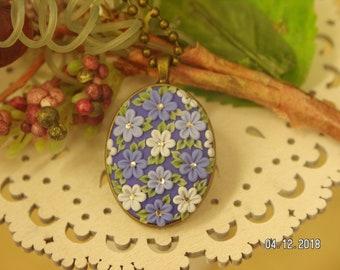 Blue Bayou - Blue Floral Pendant Necklace