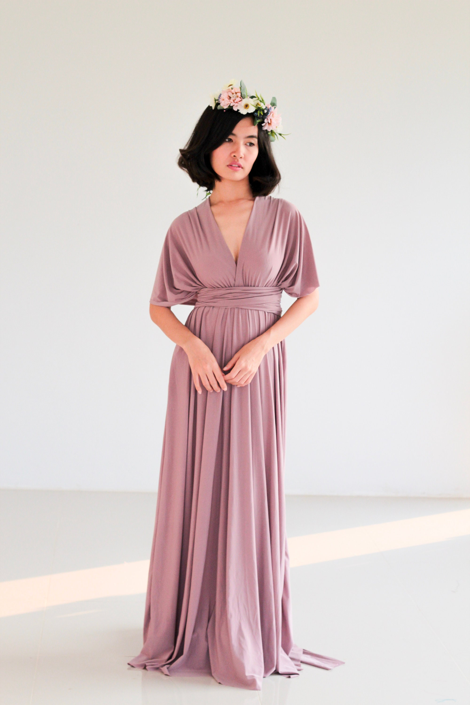 Plus Size Mauve Purple infinity dress Bridesmaid Dress Maxi