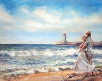 "Beach art Flat archival canvas print of original, ""I Would Rather Be Here"" Romantic - Laurie Shanholtzer,"