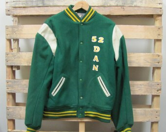 Vintage Men's Letter Sweater Shop Green & Yellow Letterman's Jacket Size 44