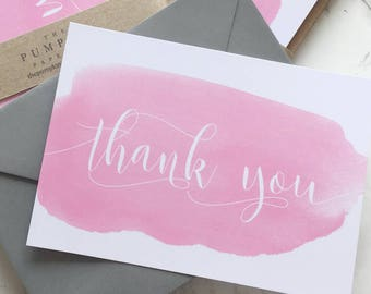 """Wedding Thank You Cards Thank You Postcards Thank You Notes Thank You Card Set watercolour brush blank reverse 105x148mm/4.1/8""""x5.7/8"""""""