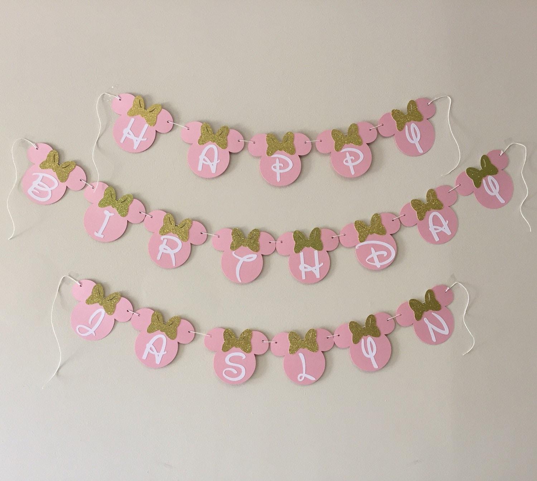 Rosa und Gold Minnie Maus Banner Baby 1. Geburtstag Dekor