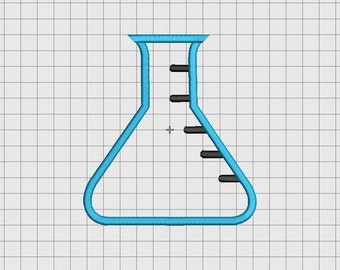Erlenmeyer Flask Applique Embroidery Design in 3x3 4x4 5x5 and 6x6 Sizes