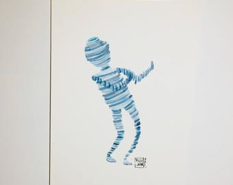 Dance Bot - original watercolor painting