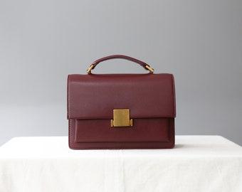 burgundy leather crossbody bag, burgundy leather shoulder bag, leather satchel bag, messenger bag, leather purse, handle bag, structured bag