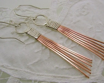 Mixed Metal Sterling Silver and Copper Earrings. Sterling Silver and Copper Strand Earrings, Copper Jewelry