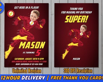 The Flash Invitation with Custom Face and FREE Thank You Card- Flash Invite - Flash Birthday Invitation - Flash Birthday Party