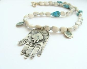 Hamsa sterling silver Necklace - Hand of Fatima sterling silver - necklace burning heart amulet - Evil Eye Jewelry