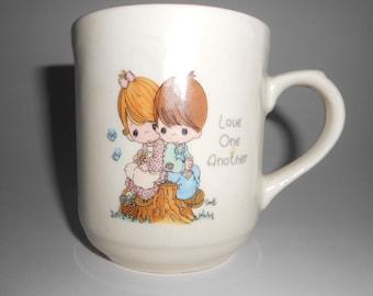 Precious Moments Mug Vintage 1994 Love One Another Enesco Boy Girl Tree Stump Sam B Porcelain Mug Enesco China