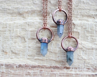Labradorite Necklace Copper Necklace Electroformed Jewelry Gemstone Pendant Labradorite