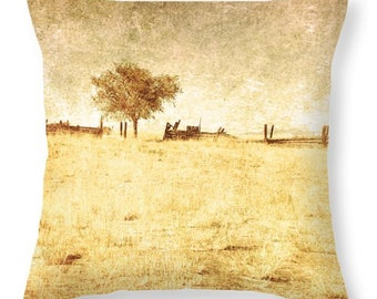 Art Throw Pillow Cover Alone photo Pillow Covers yellow tones light photography rustic coutry tree home decor gold tan