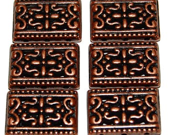 6 Antiqued Copper Filigree Pewter 3-Hole Metal Spacers