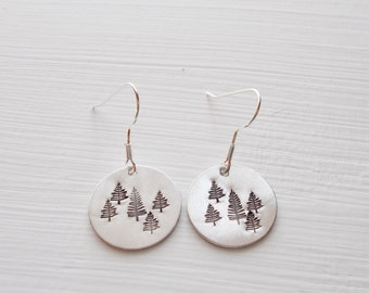 Hand Stamped Minimal Silver Tree Earrings Outdoor Hiking Trail Earrings