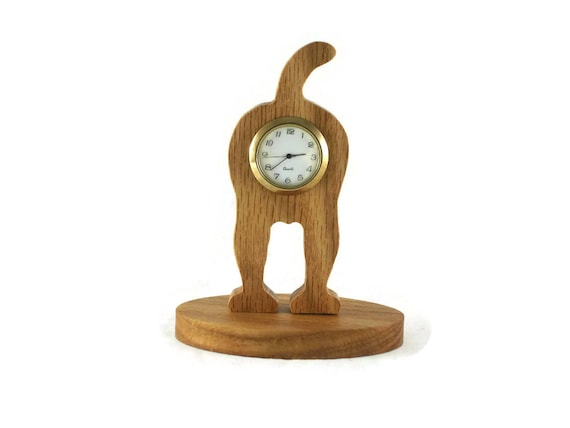 Dogs Bottom Desk Or Shelf Clock Handmade From Oak Wood By KevsKrafts, Doggy Bottom