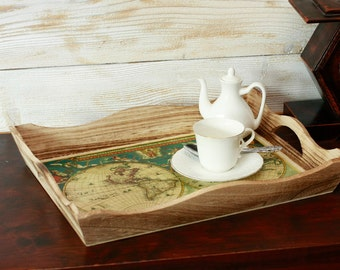 """Serving Tray, Antique map Serving Tray - 15 """"x 11 """"x  2 1/ 2 '  Hostess gift, Decoupage  Serving Tray  Vintage World map Wooden Serving Tray"""