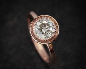 Halo Engagement Ring, Moissanite Ring,  Rose Gold Engagement Ring, Rose Gold