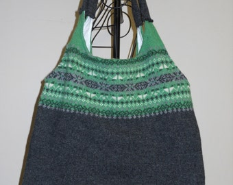 Sweater Tote Green Gray Upcycled Wool
