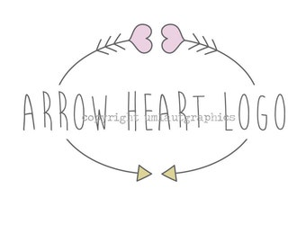 Premade Logo Hearts and Arrows Etsy Shop Branding