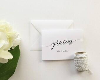Gracias Wedding Thank You Cards (set of 10) - Personalized thank you cards - Gracias thank you cards - modern calligraphy cards