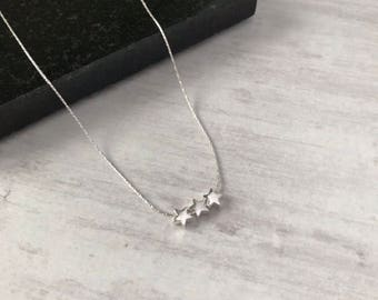 Sterling Silver Triple Star Necklace/Silver Trio Star Necklace/Star Bead/Star/Delicate chain/Everyday/Layer/Gift/Bridal/Choker/UK/bff/mum