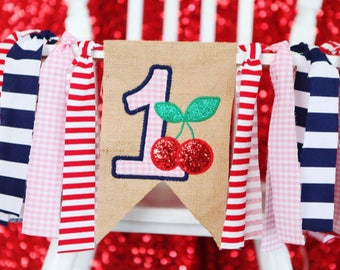 CHERRY FIRST BIRTHDAY high chair highchair banner one girl party