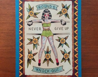 Never give up, boxing girl tattoo print