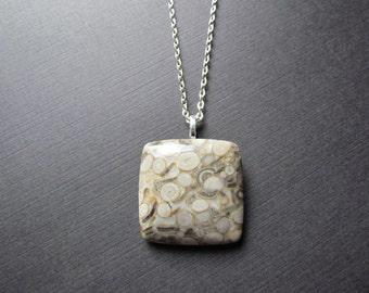 Crinoid Necklace - Crinoid Pendant - Crinoid Jewelry - Stone Necklace - Fossil Necklace - Fossil Pendant -