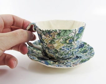 MADE-TO-ORDER ( 1 - 2 Weeks)- Liberty Textile Teacup Tidy-Floral Peacock blue Green