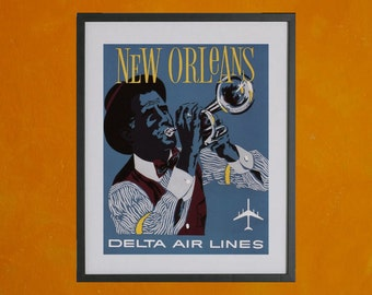 New Orleans Delta Air Lines Mid Century Travel Poster - 8.5x11 Poster Print - also available in 13x19 - see listing details