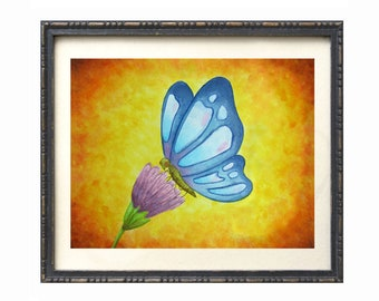 PRINT, blue butterfly on gold background, butterfly on thistle artwork, watercolor butterfly art print, gold nursery decor,