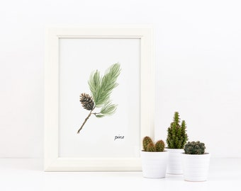 Wall Art Print, printable poster, instant download, a branch of pine with cone, original watercolor painting, Woodland nature, forest
