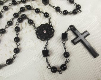 All Black Full Rosary Set. One of a Kind!
