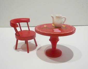 Dollhouse Miniature Furniture Red Wood Round Table Chair Handpainted Flowers by VintageReinvented