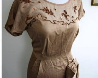 Vintage Larger Size Bronze Satin Dress with Bronze Sequins and Beading and Huge Hip Bow, ca 1950s