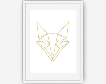 Geometric Fox Print, Fox Art, Gold Fox Print, Geometric Art, Geometric Print, Gold Wall Art, Wall Art, Printable, Instant Download